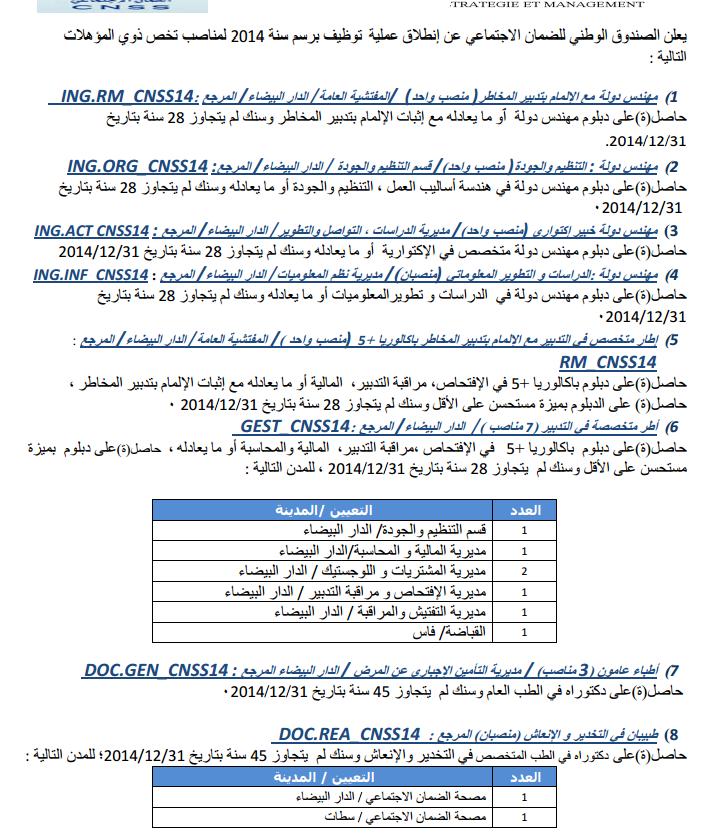 annonce concours entrée CNSS caisse nationale de sécurité ...